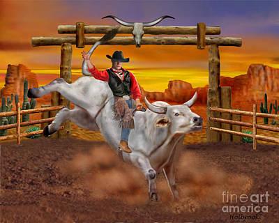 Desert Sunset Digital Art - Ride 'em Cowboy by Glenn Holbrook