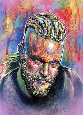 Vikings Drawing - Ragnar Lothbrok Bloody by Marina Pacurar