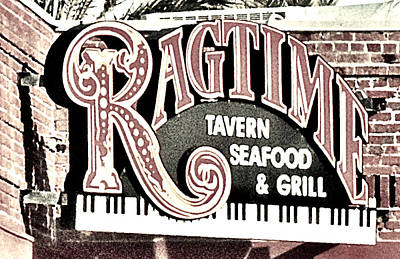 Photograph - Ragtime Sign Black And White by Gary Smith