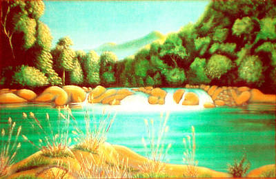 Painting - Rai Valley Falls Si Nz by Barbara Stirrup