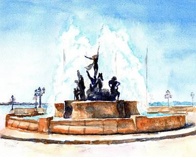 Painting - Raices Fountain San Juan Puerto Rico by Carlin Blahnik