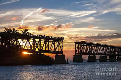 Red Roses - Rail bridge at Florida Keys by Elena Elisseeva