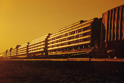 Freight Train Photograph - Rail Car Train Carrying Steel Pipe by Dave Reede