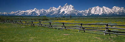 Rail Fence On A Landscape, Grand Teton Art Print by Panoramic Images