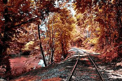 Rail Digital Art - Rail Road Along Brandywine Creek by Bill Cannon