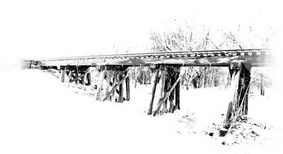 Digital Art - Rail Road Bridge In Winter 1 by James Granberry