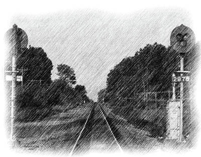 Digital Art - Rail Road Tracks by Artful Oasis