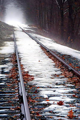 Photograph - Rail Tracks In Winter by Olivier Le Queinec