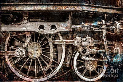 Photograph - Rail Wheel Grunge Detail,  Steam Locomotive 03 by Daliana Pacuraru