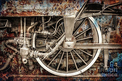 Photograph - Rail Wheel Grunge Detail,  Steam Locomotive 05 by Daliana Pacuraru