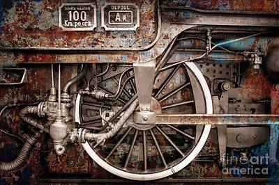 Photograph - Rail Wheel Grunge Detail,  Steam Locomotive 06 by Daliana Pacuraru