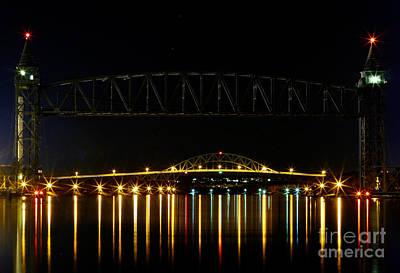 Railroad And Bourne Bridge At Night Cape Cod Art Print