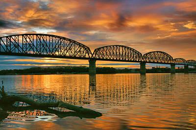 Railroad Bridge At Sunrise Print by Steven Ainsworth
