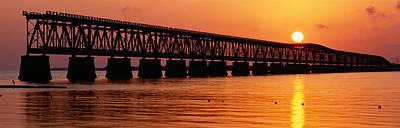 Florida Bridge Photograph - Railroad Bridge At Sunset, Florida by Panoramic Images