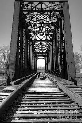 Railroad Bridge Black And White Art Print