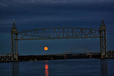 Art Print featuring the photograph Railroad Bridge Over A Full Moon by Greg DeBeck