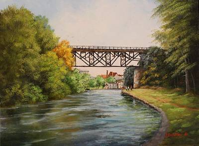 Painting - Railroad Bridge Over Erie Canal by Judy Bradley