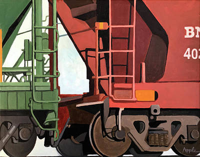 Painting - Railroad Cars - Realistic Train Oil Painting by Linda Apple