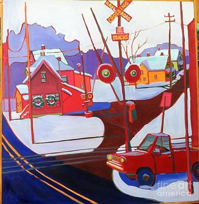 Painting - Railroad Crossing In Winter by Debra Bretton Robinson