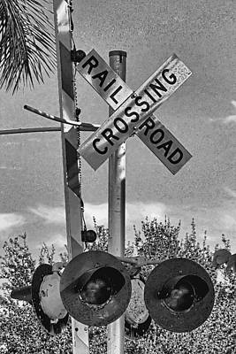 Photograph - Railroad Crossing Sign B W By H H Photography Of Florida by HH Photography of Florida