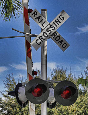 Photograph - Railroad Crossing Sign By H H Photography Of Florida by HH Photography of Florida