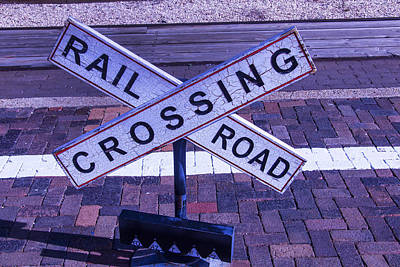 Railroad Crossing Photograph - Railroad Crossing Sign  by Garry Gay