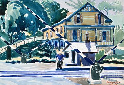 Railroad Crossing Painting - Railroad Crossing, The Berkshires by George Luks