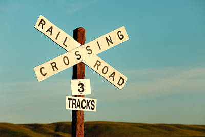 Sign Photograph - Railroad Crossing by Todd Klassy