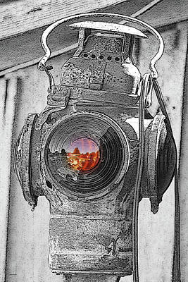 Photograph - Railroad Light Selective Color Art by Lesa Fine