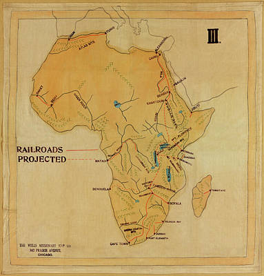 Photograph - Railroad Map Of Africa 1908 by Andrew Fare