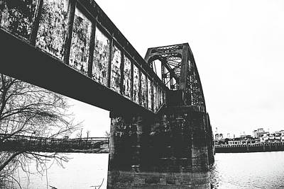 Photograph - Railroad Over The Red River - Bw by Scott Pellegrin