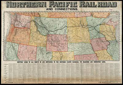 Brakeman Photograph - Railroad Shipping Guide Map 1904 by Daniel Hagerman