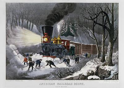 Photograph - Railroad Snow Scene, 1872 by Granger
