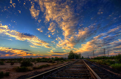 Clouds Royalty Free Images - Railroad Sunset Royalty-Free Image by Mark Beliveau