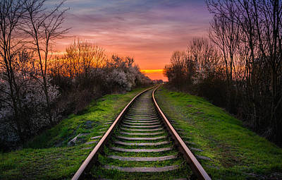 Popstar And Musician Paintings Royalty Free Images - Railroad sunset Royalty-Free Image by Pavel Ivanov