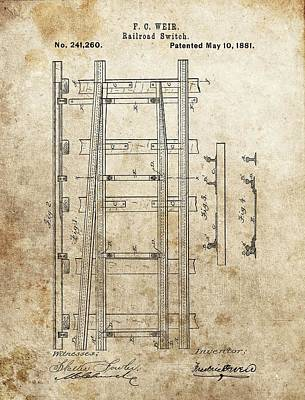 Junction Drawing - Railroad Switch Patent by Dan Sproul