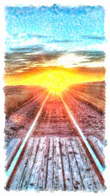 Train Digital Art - Railroad To Sun - Da by Leonardo Digenio
