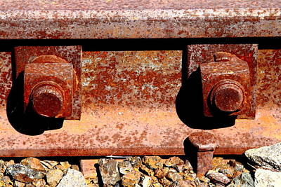 Railroad Track Nuts Bolts Spikes . 7d12683 Art Print by Wingsdomain Art and Photography