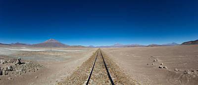 Railroad Track Passing Through Salar De Art Print