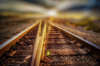 Photograph - Railroad Track Sunrise by Bob Orsillo