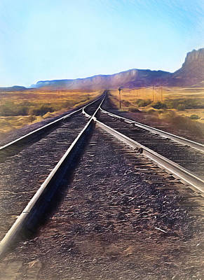 Railroad Tracks Into Horizon - Painterly Art Print by Steve Ohlsen