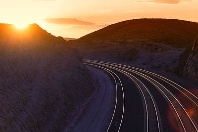 Photograph - Railroad Tracks Sunset by Garry Gay