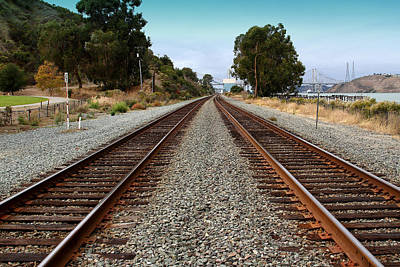 Bayarea Photograph - Railroad Tracks With The New Alfred Zampa Memorial Bridge And The Old Carquinez Bridge In Distance by Wingsdomain Art and Photography
