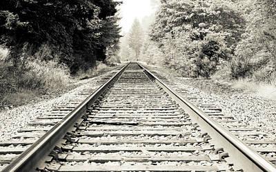 Photograph - Railroad Train Tracks Bw by Athena Mckinzie