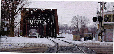 Railroad Tressel On Front Street Crossing The Grand River Art Print by Rosemarie E Seppala