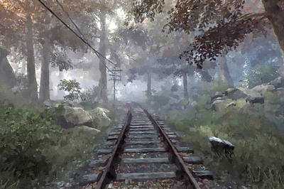 Digital Art - Rails To A Forgotten Place by Kai Saarto