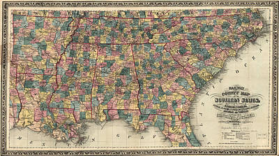 Painting - Railway And Countmapy Map Of The Southern States 1864 by Edward Mendenhall