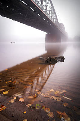 Railway Bridge During Foggy Morning In Prague, Czech Republic Art Print