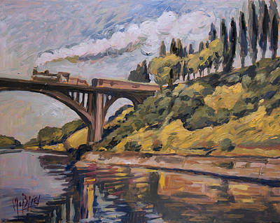 Painting - Railway Bridge Over The Albert Canal by Nop Briex