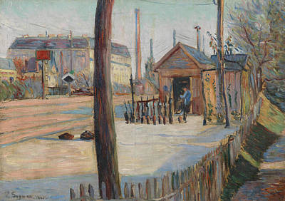 Divisionist Painting - Railway Junction Near Bois-colombes  by Paul Signac